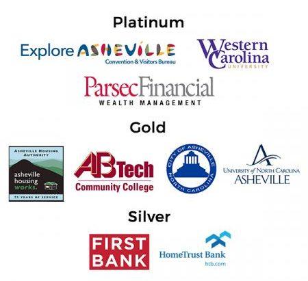 Explore Asheville logo; Western Carolina University logo; Parsec Financial Wealth Management logo; Asheville Housing Authority logo; AB Tech logo; City of Asheville logo; UNC Asheville logo; First Bank logo; HomeTrust Bank logo