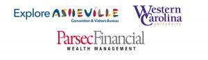 Explore Asheville logo; Western Carolina University logo; Parsec Financial Wealth Management logo